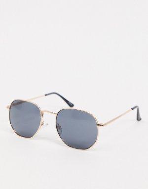 Солнцезащитные очки в многоугольной оправе -Золотой Selected Homme