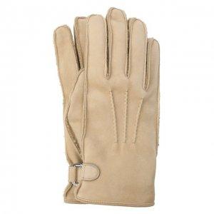 Замшевые перчатки Brioni. Цвет: бежевый