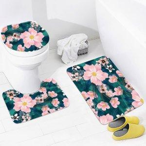 Банный коврик и чехол для унитаза с принтом цветка 3шт SHEIN. Цвет: многоцветный