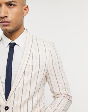 Узкий пиджак кремового цвета в полоску -Белый Twisted Tailor