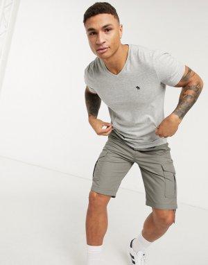 Серая футболка с V-образным вырезом -Серый Abercrombie & Fitch