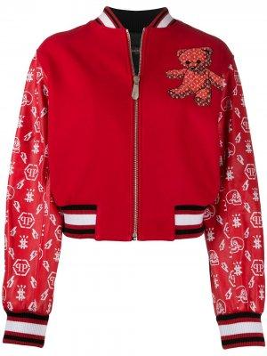 Куртка-бомбер Teddy Bear с логотипом Philipp Plein. Цвет: красный