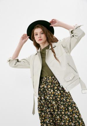 Куртка кожаная Izabella. Цвет: серый