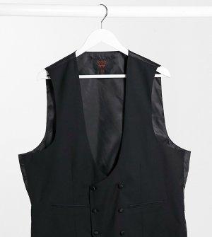 Облегающий двубортный жилет с глубоким вырезом Plus-Черный цвет Devils Advocate