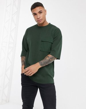 Oversized-свитшот с короткими рукавами и карманом -Зеленый Dr Denim