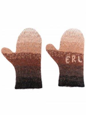 Полосатые варежки с логотипом ERL. Цвет: коричневый