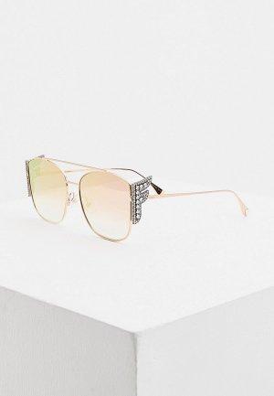 Очки солнцезащитные Fendi FF 0380/G/S DDB. Цвет: золотой