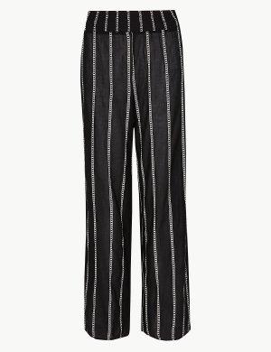 Расклешенные пляжные брюки в полоску M&S Collection. Цвет: черный микс