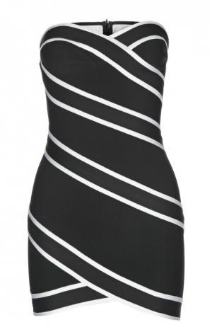Мини платье-бюстье с контрастной отделкой Herve L.Leroux. Цвет: черно-белый