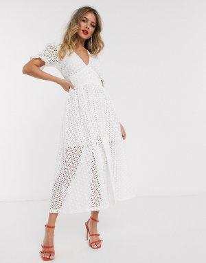 Белое платье мидакси с вышивкой ришелье и пышными рукавами -Белый Bardot