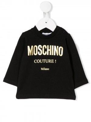 Толстовка с логотипом Moschino Kids. Цвет: черный
