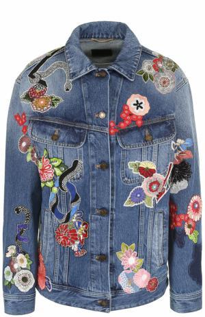 Джинсовая куртка с потертостями и нашивками Saint Laurent. Цвет: синий