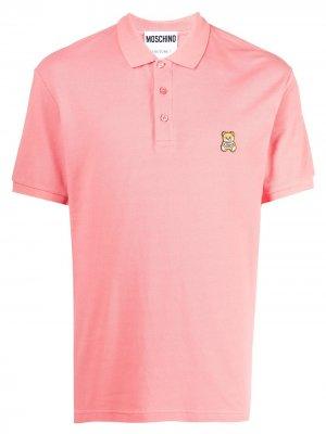 Рубашка поло с нашивкой-логотипом Moschino. Цвет: розовый