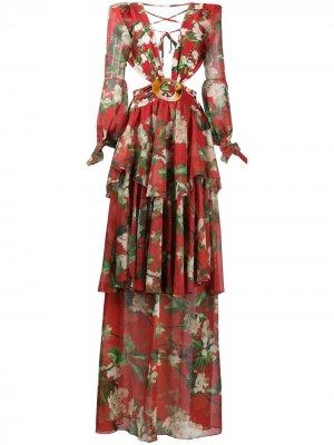Пляжное платье с длинными рукавами и цветочным принтом PatBO. Цвет: красный