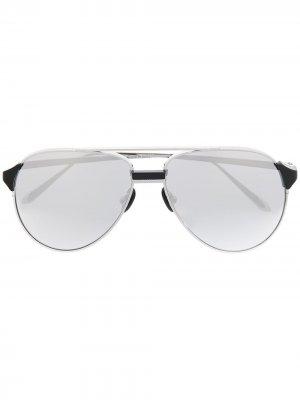 Солнцезащитные очки-авиаторы Linda Farrow. Цвет: серебристый