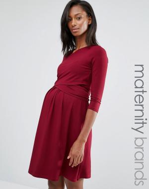 Платье мини с запахом Isabella Oliver. Цвет: красный