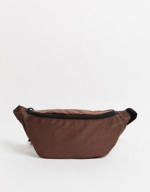Коричневая сумка-кошелек на пояс -Коричневый цвет ASOS DESIGN