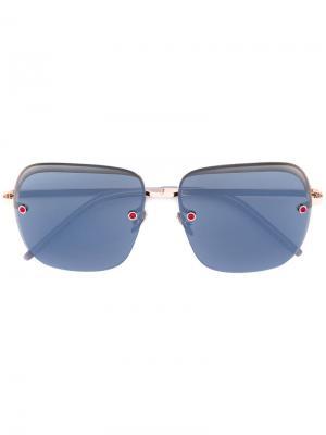 Солнцезащитные очки в квадратной оправе Pomellato. Цвет: металлический
