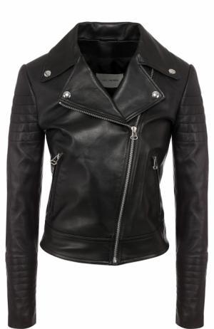 Приталенная кожаная куртка с косой молнией Yves Salomon. Цвет: черный
