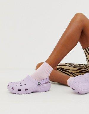 Сиреневые классические шлепанцы -Фиолетовый Crocs