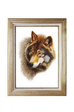 Картина Голова волка Живой шелк. Цвет: коричневый, белый