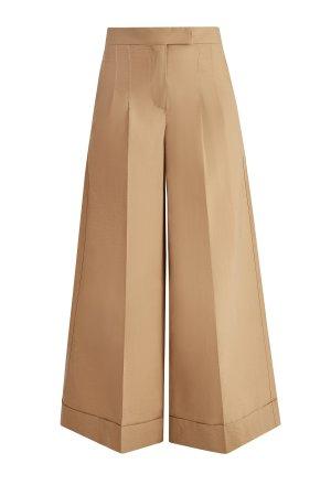 Расклешенные брюки из воздушного поплина с отворотами BRUNELLO CUCINELLI. Цвет: бежевый