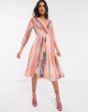 Платье миди в полоску с запахом -Мульти Closet London
