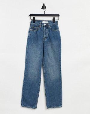 Сине-голубые джинсы с большими накладными карманами -Голубой Topshop