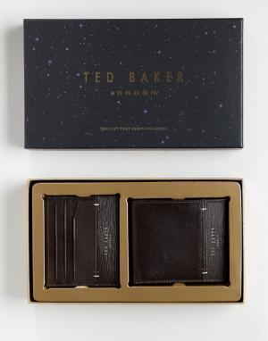 Подарочный набор: бумажник и визитница Taglee Ted Baker. Цвет: коричневый