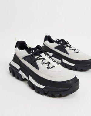 Черно-белые кроссовки на шнуровке CAT raider-Мульти Footwear