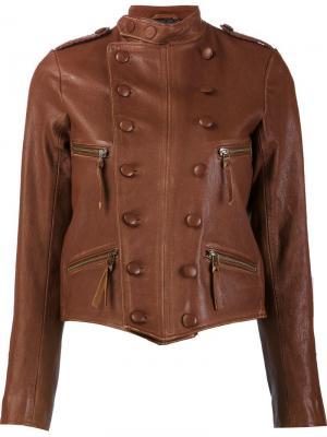 Двубортная кожаная куртка Faith Connexion. Цвет: коричневый