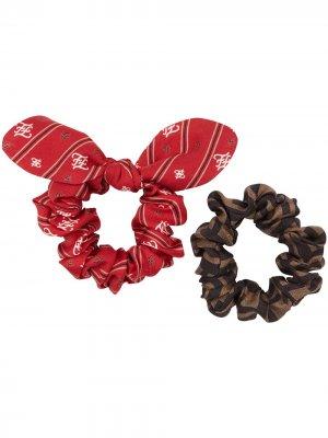 Клмплект из двух резинок для волос Fendi. Цвет: красный