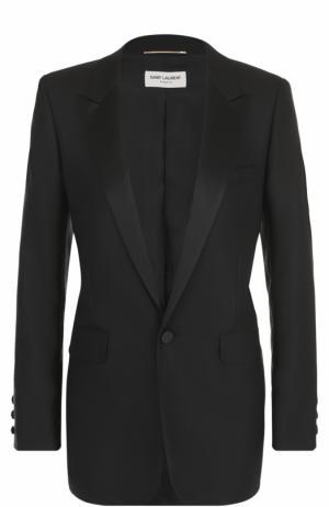 Приталенный жакет на одной пуговице с узкими лацканами Saint Laurent. Цвет: черный