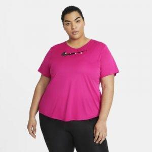 Женская беговая футболка Nike Swoosh Run (большие размеры) - Розовый