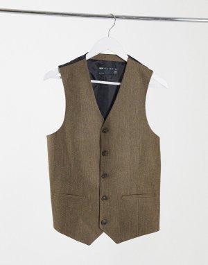 Бежевый приталенный жилет с добавлением шерсти и узором в елочку wedding ASOS DESIGN