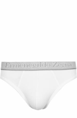 Комплект из двух хлопковых брифов с широкой резинкой Ermenegildo Zegna. Цвет: белый