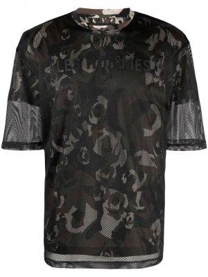 Сетчатая футболка с камуфляжным принтом Les Hommes. Цвет: черный