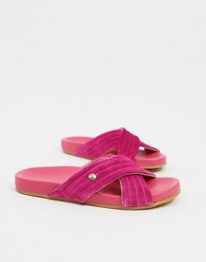 Замшевые шлепанцы цвета фуксии Uma-Розовый цвет Fiorelli