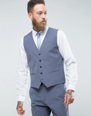 Эластичный облегающий жилет -Синий Selected Homme