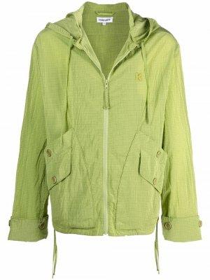 Легкая куртка на молнии с капюшоном Kenzo. Цвет: зеленый