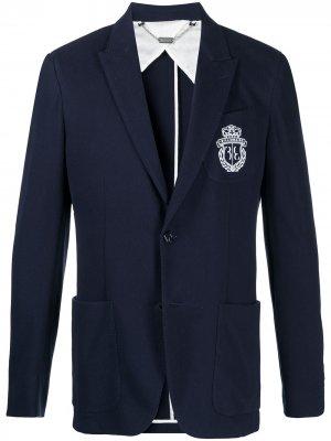 Пиджак с вышитым логотипом Billionaire. Цвет: синий