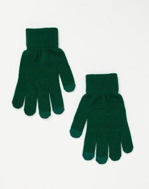 Зеленые перчатки с отделкой для сенсорных устройств -Зеленый цвет SVNX