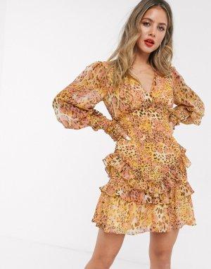 Платье мини горчичного/розового цвета с длинными рукавами и леопардовым принтом -Мульти Bardot