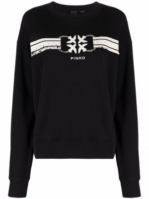 Logo-print striped sweatshirt Pinko. Цвет: черный