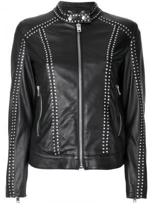 Кожаная куртка с заклепками Diesel. Цвет: черный