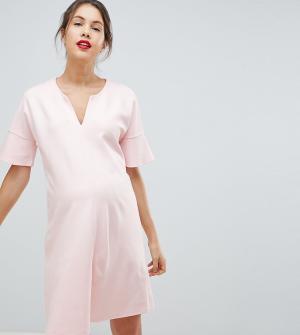 Платье с расклешенными рукавами Isabella Oliver. Цвет: розовый