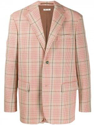Однобортный пиджак в клетку Marni. Цвет: красный