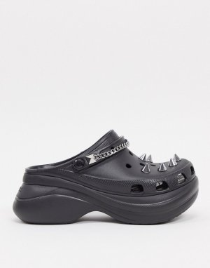 Черные клоги на платформе в стиле панк-Черный Crocs