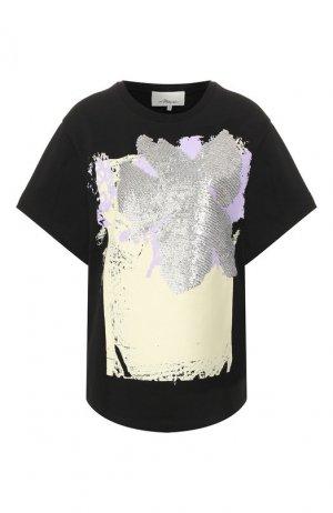 Хлопковая футболка 3.1 Phillip Lim. Цвет: чёрный