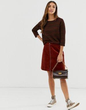 Вельветовая мини-юбка -Красный b.Young